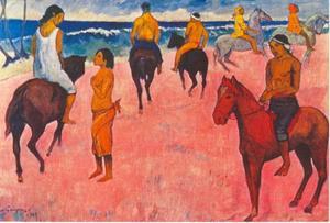 Ruiters op het strand van de Markiezen Eilanden