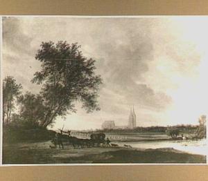 Landschap met de ruïne van de abdij van Egmond