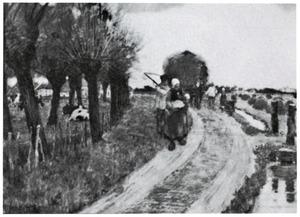 Boeren na het hooien op de terugweg naar huis