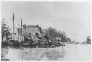 Huizen langs een kanaal bij Dordrecht (2)