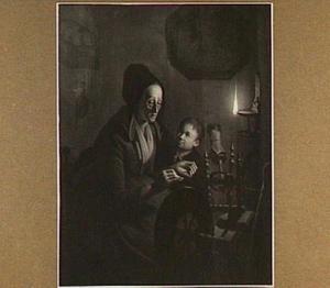Oude vrouw aan spinnewiel en een jongetje bij olielampje