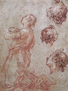 Studie van een knielende man en drie studies van zijn kop