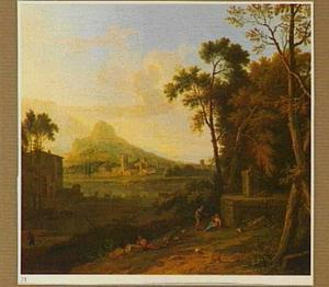 Zuidelijk landschap met rustende herders