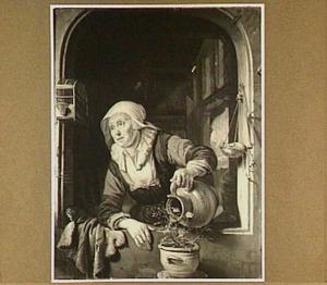 Een oude vrouw aan het venster