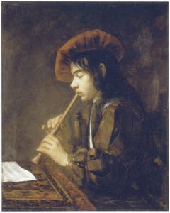 Jonge fluitspeler met rode baret