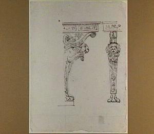 Voor- en zijaanzicht van de poot van een penanttafel of trumeau met leeuwekop en klauwvoetstuk