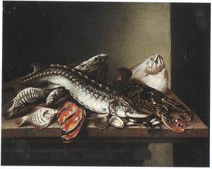 Visstilleven met steur en kreeft
