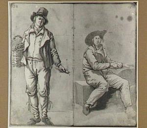 Staande en zittende man met mand