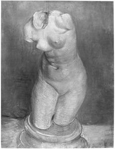Beeld in gips: Vrouwelijke torso gezien van voren