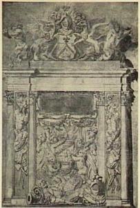 Ontwerp voor de graftombe van Maerten Harpertsz. Tromp (1598-1653) in de Oude Kerk in Delft