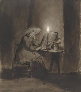Zittende jongeman lezend bij kaarslicht