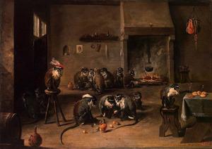Dierensatire met kaartspelende apen