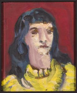 Kop van een jonge vrouw met gele trui