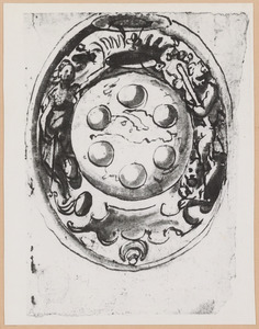 Wapenschild van kardinaal en groothertog  Ferdinando I de' Medici, geflankeerd door Minerva en Hercules, in ovaal