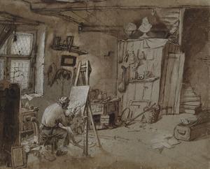 Kunstenaar in zijn atelier