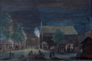 Botermarkt (nu Rembrandtplein) te Amsterdam bij avond, met grote tent en kramen
