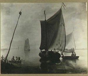 Riviergezicht met verschillende schepen