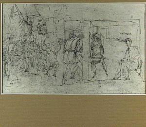 Voorstelling met militairen in een kampement