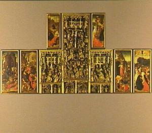 De intocht in Jeruzalem, de gevangenneming (links), de kruisdraging, de kruisiging, de bewening (midden), de annunciatie, de visitatie, de geboorte, de aanbidding van de Wijzen, de vlucht naar Egypte, de Heilige Familie (middenonder), de opstanding, de hemelvaart (rechts), Christus in de Hof van Olijven (linksboven), de kruisafneming (rechtsboven)