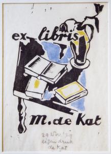 Ex libris voor M. de Kat