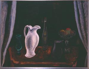 Stilleven met witte kan, fruitschaal en glaswerk