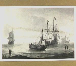 Schepen voor de kust met rechts een fregat