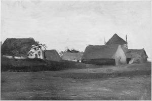 Oude boerderijen in Loosduinen bij avondschemer