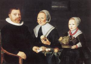 Portret van Pieter Jansz. van Embden (....-1669) en Ariaentgen Jansdr. de Laet met hun dochter