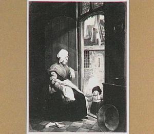 Moeder en kind in een deuropening