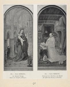 Maria met kind in een kerk (binnenzijde linkerluik), Christiaan de Hondt, dertigste abt van de cisterciënserabdij Ter Duinen bij Brugge (1495-1509) (binnenzijde rechterluik)