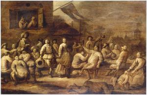 Feestvierende boeren bij een herberg