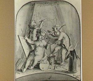 Allegorie op de Schone Kunsten met drie putti