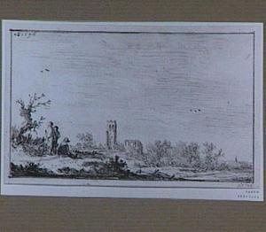 Landschap met ruïne van de kerk in Muiderberg