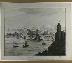 Italiaanse havenstad met Napolitaanse motieven