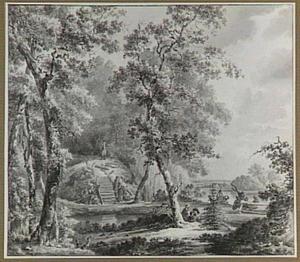 Heuveltje met grot in het park van kasteel Doorwerth in Gelderland