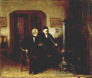 Interieur met twee pijprokende mannen bij een kachel
