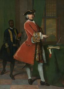 Portret van Jan Pranger (1700-1773), met een bediende