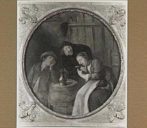 Herberginterieur met een vrouw en twee mannnen