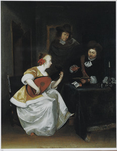 Interieur met een jonge vrouw die luit speelt en twee mannen, waarvan één de maat slaat