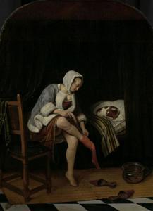 Vrouw aan haar toilet