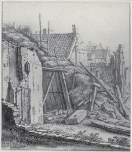 Door een orkaan verwoeste huizen buiten de Tolsteegpoort in Utrecht