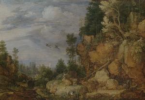Rotsachtig landschap met herten en geiten