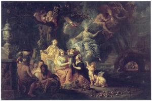 Vier Olympische goden, Neptunus, Jupiter, Juno en Ceres met hun entourage als de vier elementen