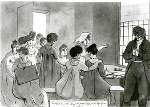 Tekenles in de meisjesschool te Weesp
