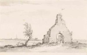 De ruïne van de kapel te Hoogelande; links in de achtergrond de stad Middelburg