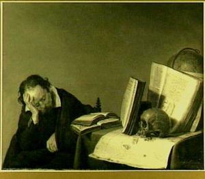 Rustende wijsgeer bij tafel met boeken, doodshoofd, globe en landkaart
