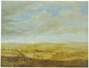 Heuvellandschap met gezicht op Helmsley Castle, Yorkshire, gezien vanuit het Noordoosten