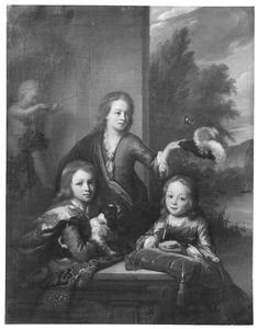 Portret van drie kinderen van Maurits le Leu de Wilhem (1643-1724)