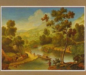 Berglandschap met een rivier met enkele boten en een hengelaar