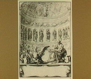 Ontwerp voor een titelpagina voor een werk van Suetonius, de geschiedschrijver Suetonius zittend aan een tafel omringd door allegorieën in een overkoepelde ruimte met beelden in nissen
